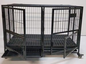 43 foldable double door heavy duty dog cage