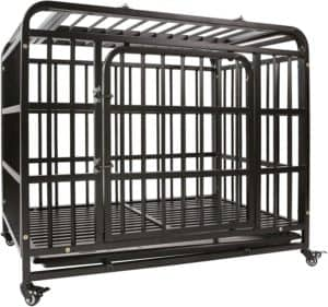 agesisi heavy duty dog crate strong metal dog cage dog kennels for medium and large dogs pet playpen indoor outdoor with four wheels self locking latches