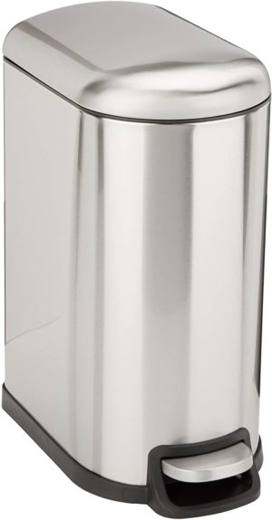 amazon basics 10 liter 2 6 gallon soft close Dog Proof Trash Can with foot pedal for narrow spaces brushed stainless steel