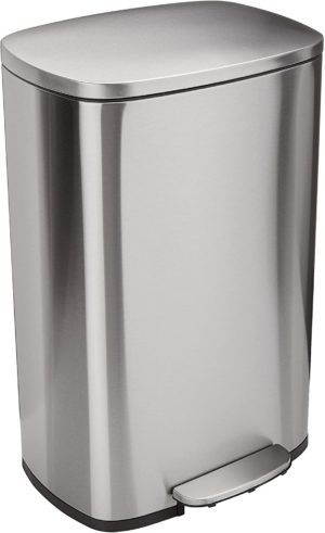 amazon basics 50 liter 13 2 gallon soft close trash can with foot pedal stainless steel satin nickel finish