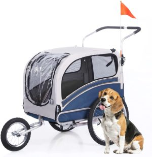 anour 2 in1 pet bicycle trailer and jogger travel carrier suitable for big and medium dogs folding storage 20303l