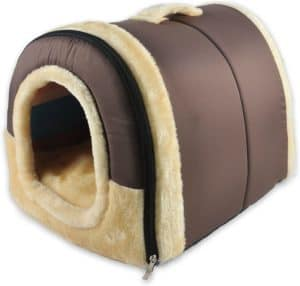 anppex igloo dog house portable cat igloo bed with removable cushion 2 in 1 washable cozy dog igloo bed cat cave foldable non slip warm for pets puppy kitten rabbit