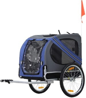 aosom bike trailer cargo cart for dogs and pets with 3 entrances large wheels for off road mesh screen