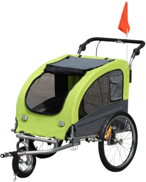 aosom elite ii 2 in 1 pet dog bike trailer and stroller with suspension and storage pockets