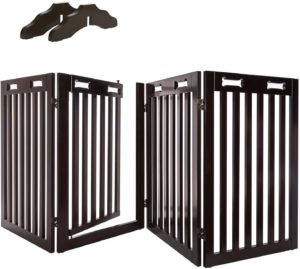 arf pets free standing wood Retractable Dog Gate with walk through door