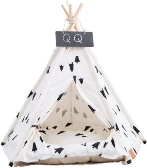arkmiido dog teepee bed cat tent portable pet dog tent indoor dog house puppy dog bed accessories for small dogs pet houses for puppy or cat with thick cushion and blackboard