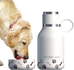 asobu dog bowl attached to stainless steel insulated travel pet bottle 1 liter