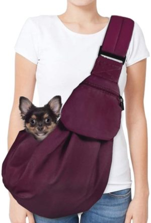 autowt dog padded papoose sling small pet sling carrier hands free carry adjustable shoulder strap reversible tote bag with a pocket safety belt dog cat traveling subway