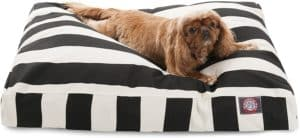 black vertical stripe medium rectangle indoor outdoor pet dog bed with removable washable cover by majestic pet products