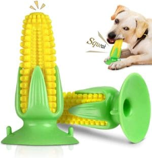 by qyw dog chew toothbrush toy with suction cup sucker corn sound simulation rubber toy teeth cleaning toys brushing stick dental oral care for pet