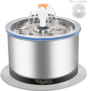 cat water fountain stainless steel ultra quiet pump pet fountain with led light filter three ways to drink 4 stage filtration automatic drinking fountain for kitty and dog