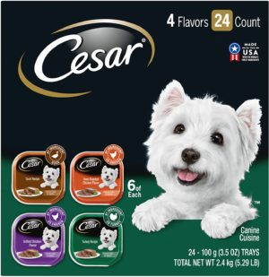 cesar loaf in sauce variety pack dog food trays 3 5 oz case of 24