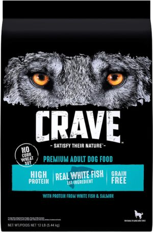 crave grain free high protein adult dry dog food white fish salmon