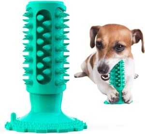 dog chew toy durable natural rubber dog teeth cleaning toothbrush with suction cup for all aggressive chewers small