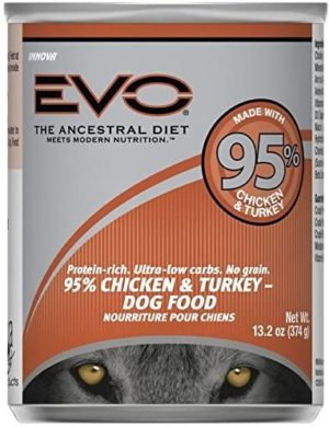 evo dog 95 meat chicken turkey canned dog food