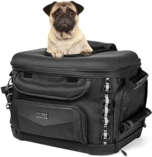 fancytimes motorcycle dog carrier bag motorcycle pet carriers pet luggage bag for road glides back rack with foldable pet bowls shoulder strap rain cover