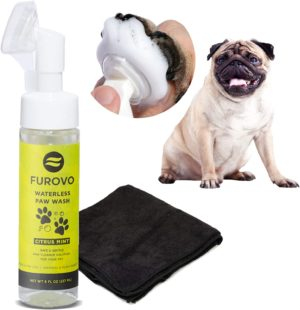 furovo made in usa natural plant based waterless dog paw cleaner shampoo rinse free solution with portable attached cleaning brush head microfiber towel for dogs cats puppies
