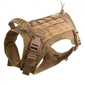 hanshengday tactical dog vest training molle harness tactical dog backpack pet tactical vest detachable pouches relective patches