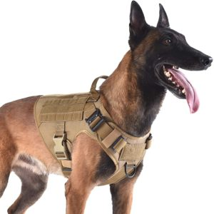 icefang tactical dog harness with 2x metal buckledog walking training molle vest with handleno pulling front leash cliphook and loop for dog patch
