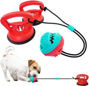incuisting new upgraded dog chew toys with large suction cups dog toysfood dispensing ball toydogs training toysteeth cleaning toyswith extra strong grip tec for dog play safeierhappier