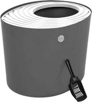 iris top entry dog proof litter box with cat litter scoop