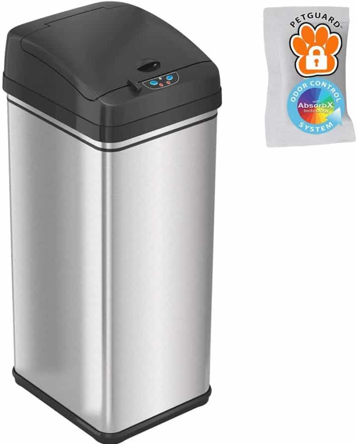 itouchless 13 gallon pet proof sensor trash can with absorbx odor filter kitchen garbage bin petguard