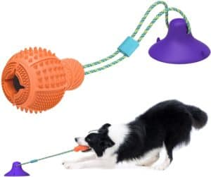 klomier dog chew toys for aggressive chewerspuppy dog teething puzzle treats ball toys for boredom chewsdurable rubber interactive tug dog toys with strong suction cup power for large small dogs