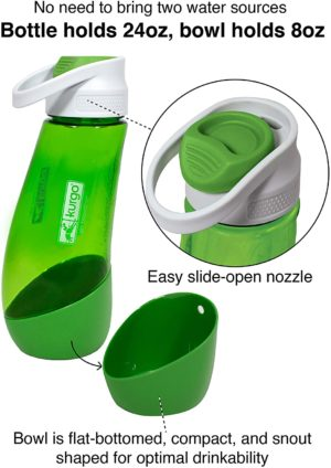 kurgo gourd 2 in 1 dog travel water bottle portable water dish for dogs 24 oz