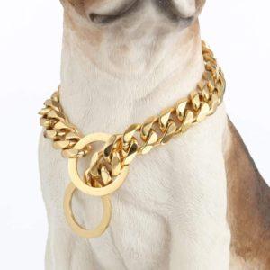 lifetime custom ultra strong 19mm 14k gold plated slip chain dog collar for pitbull mastiff bulldog medium large dogs