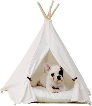 little dove pet teepee dogpuppy cat bed portable pet tents houses for dogpuppy cat beige color