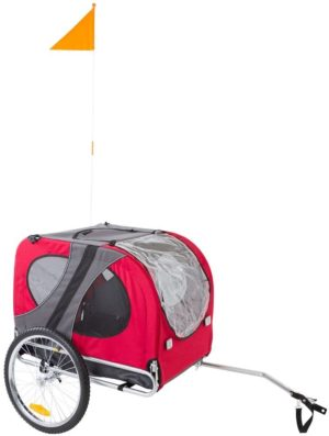lucky dog red pull behind dog bicycle trailer pet carrier