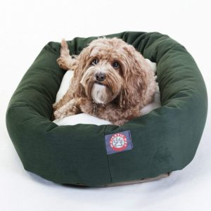 majestic pet poly cotton sherpa bagel dog bed for dogs cats calming donut dog bed cuddler washable multiple sizes colors