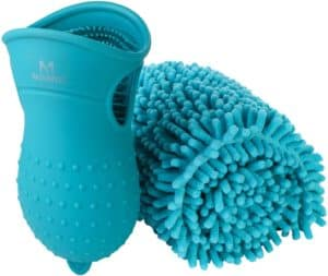 masterpetz dog paw cleaner portable with towel 2 in 1 pet foot washer cup and cleaning brush silicone paw cleaner for medium large puppy cats massage grooming