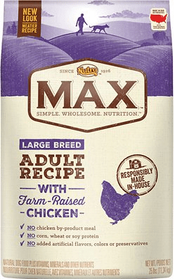 max large breed natural chicken meal rice adult recipe dry dog food