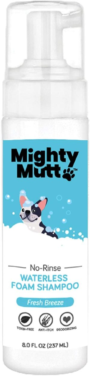 mighty mutt natural hypoallergenic dry shampoo foam for dogs waterless no rinse anti itch soothing and deodorizing