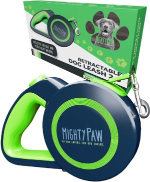 mighty paw retractable dog leash heavy duty reflective nylon tape lead for pets up to 50 lbs tangle free design w one touch quick lock braking system anti slip handle