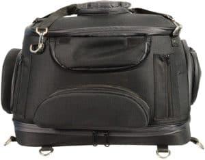 milwaukee performance mp8103 black heavy duty textile motorcycle pet carrier sissy bar bag