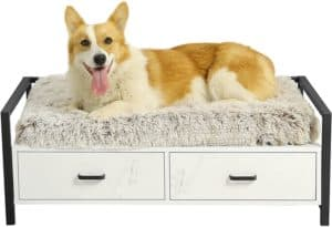 msmask pet dog bed frame with drawer modern dogs wood beds for big dogs cats couch sofa elevated wooden dog furniture easy to clean medium white