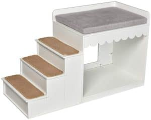 multifunction indoor dog pet multi level bed window perch platform wood stairs bunk bed condo for dog cats 24 h white