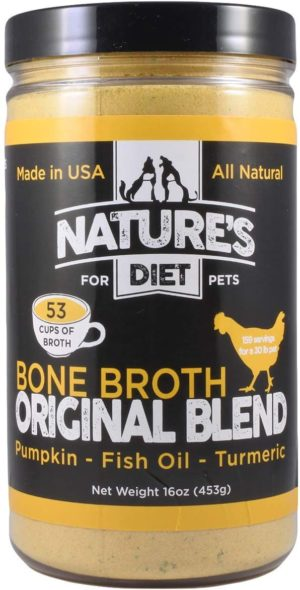 natures diet pet bone broth protein powder with pumpkin fish oil and turmeric