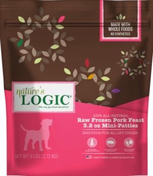 natures logic all natural grain free pork feast patties raw frozen dog food