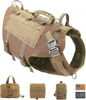 pet artist tactical dog harness for hiking training no pull vest harness for medium large dogs with pouches and patches