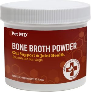 pet md bone broth for dogs dog food toppers with vitamins amino acids natural joint and digestion support made from grade a free range elk bone powder