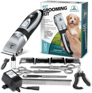 pet union professional dog grooming kit rechargeable cordless pet grooming clippers complete set of dog grooming tools low noise suitable for dogs cats and other pets