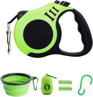 petimp retractable dog leash lightweight portative 16ft leash with folding bowldispenserrubbish bags for small medium dogs