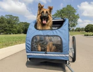 petsafe happy ride aluminum dog bike trailer durable frame easy to connect and disconnect to bicycles includes three storage pouches and tether collapsible to store medium and large sizes