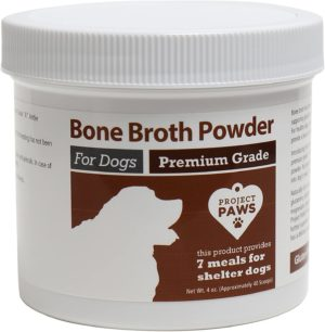 project paws bone broth for dogs with powdered elk antler and bone collagen and mineral rich food topper for dogs whole food superfood powder multivitamin for dogs