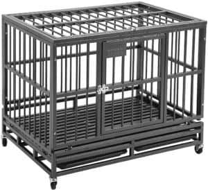 pupzo heavy duty dog cage crate kennel carbon steel with four wheels strong metal for large dogs easy to install