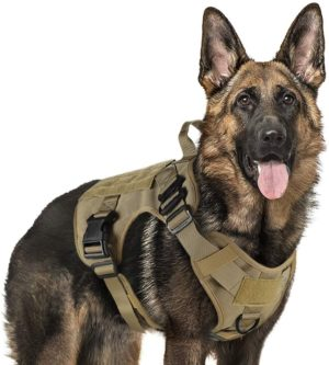 rabbitgoo tactical dog harness vest large with handle military dog harness working dog vest with molle loop panels no pull adjustable training vest tan large size chest