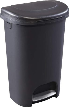rubbermaid classic 13g classic black step on trash can with stainless steel pedal